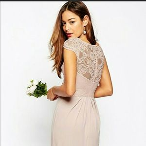 ASOS Blush Lace Top Pleated Maxi Bridesmaids Dress